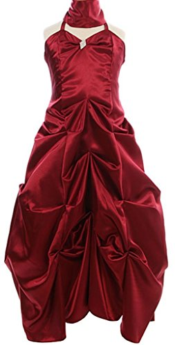 Dress Bubble Ombre (AkiDress Bubble Pick Up Floor Length Flower Girl Dress for Big Girl Burgundy 10)