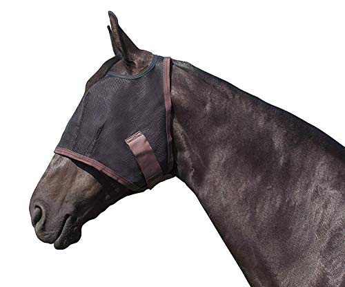 Kensington Natural Fly Mask with Web Trim - Protects Horses Face Eyes from Biting Insects and UV Rays While Allowing Full Visibility - Ears and Forelock Able to Come Through The Mask (Large, Black)