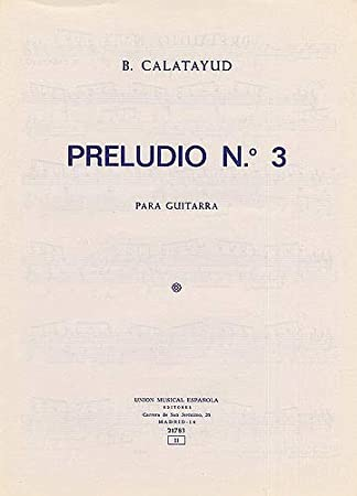 B. Calatayud: Preludio No.3 For Guitar. Partituras para Guitarra ...