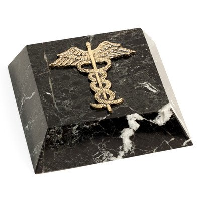 (Bey-Berk R25M Black Zebra Marble Paperweight with Antique Gold Plated Medical)