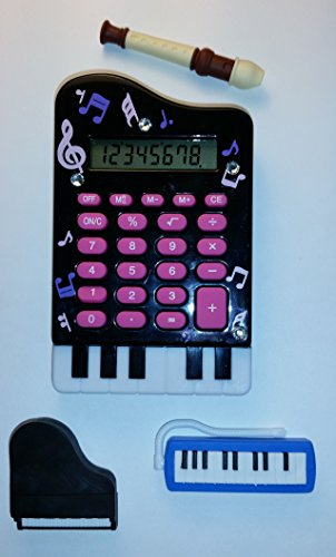 Kids and Teens Electronic Calculator, Cute Toy Piano Design with BONUS, Musical Stylus, Erasers set included