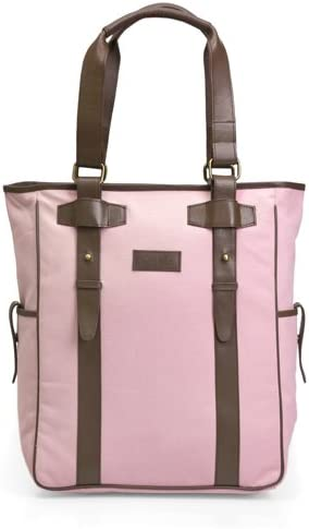 Olive N Figs Pink Canvas Tote Briefcase with leather trims