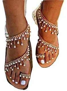 44f17f6f1f5 Amazon.com: Womens Boho Lace-up Flats Sandals Summer Fashion Cross ...