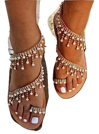 576397fd8d3ee Womens Summer Bohemia Flat Sandals Beads Pearl Beach Clip Toe Flip Flops  Flat Bottom Sandals Shoes