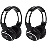 (2) Rockville RFH3 Wireless Infrared IR Car Headphones for Any Car Monitor