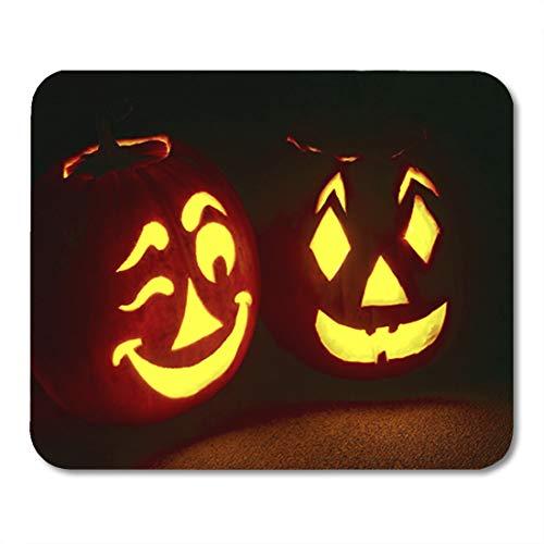 Semtomn Gaming Mouse Pad Orange JackoLantern Pumpkin Pair Glowing Bright One Winking Friendly 9.5