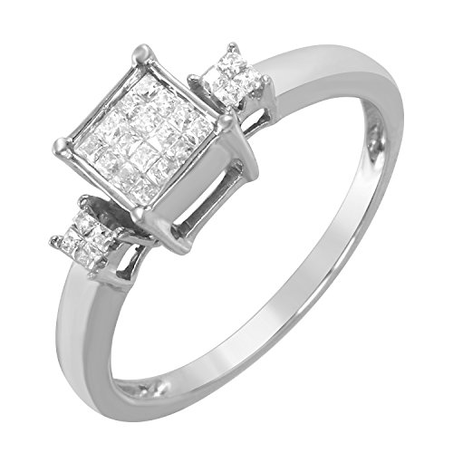 0.25 Carat Natural Diamond 10K White Gold Engagement Ring for Women Size (0.25 Ct Invisible Setting)
