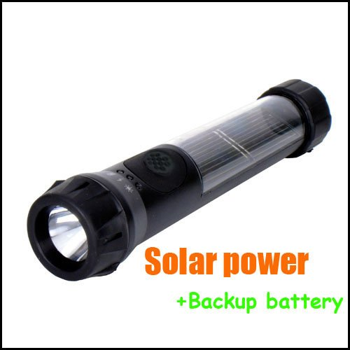 Toptens Real Waterproof Solar Powered Rechargeable Led Flashlight Torch Lamp Emergency Light