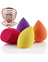 FAMILIFE Makeup Sponge Blender Set 5Pcs with Dry Holder Stand Cosmetic Egg Blending Sponge Set