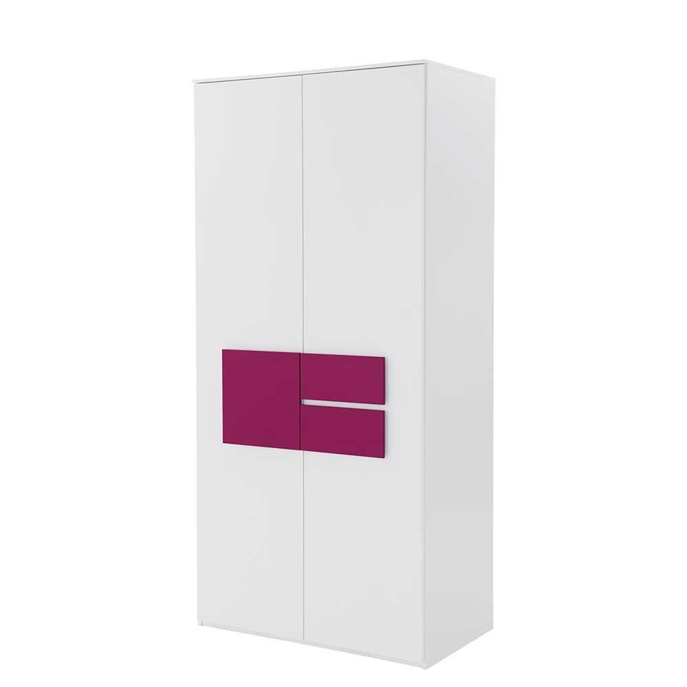 Pharao24 Schlafzimmer Kleiderschrank in Weiß Pink modern
