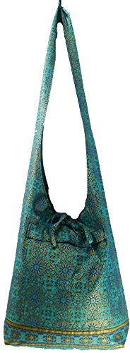 Rare Asian Hippie Hobo Cotton Sling Cross-body Handmade Bluethai Pattern Bag Shoulder Purse (Sling Pattern Purse)