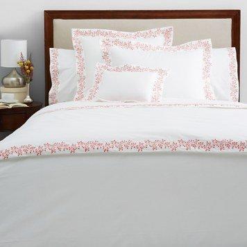 Anne De Solene of Paris Standard Sham Flora/ 100% Long Staple Cotton White with Coral (Paris Standard Sham)