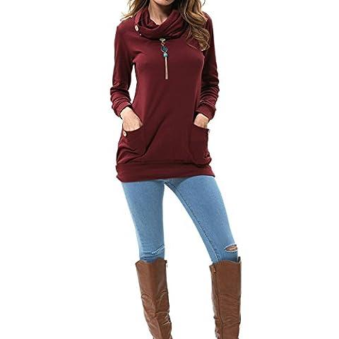 Levaca Womens Clothing Long Sleeve Tunic Fashion Slimming Shirts Tops Wine XL (Fashion Ladies Long Sleeve)