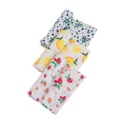 Little Unicorn Cotton Muslin Swaddle Blankets (set Of 3)- Berry Lemonade, Purple, Red, Yellow
