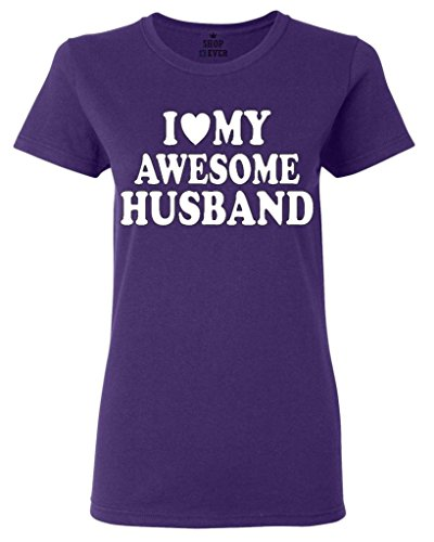 Shop4Ever Love My Awesome Husband Women's T-Shirt Couples Shirts Medium Purple0