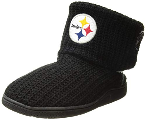 FOCO NFL Pittsburgh Steelers Womens Knit 2 Button BootKnit 2 Button Boot, Team Color, Large / 9-10 (Nfl Steelers Slippers Pittsburgh)