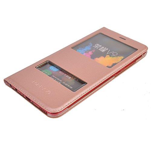Huawei Honor V9 Funda,COOLKE Diseño de ventana Flip Funda Con Soporte Plegable Carcasa Funda Tapa Case Cover para Huawei Honor V9 - Gris Rose Oro
