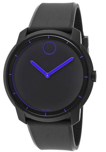 Movado Unisex Swiss Bold Black Polyurethane Strap Watch 44mm 3600191