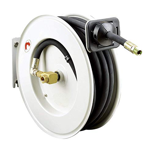 "REELWORKS Oil Hose Reel Retractable PRO 1/2"" x 50' Feet Long Premium Commercial SAE.100R1AT Hose MAX 2320 PSI Spring Driven Steel Construction Heavy Duty Industrial Single Arm & L-Shape Base from ReelWorks"