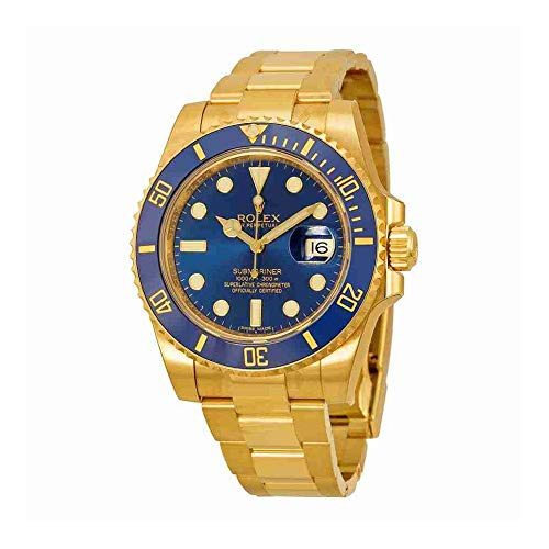 Rolex Watches Oyster - Rolex Submariner Blue Dial 18kt Yellow Gold Oyster Bracelet Mens Watch 116618BLSO