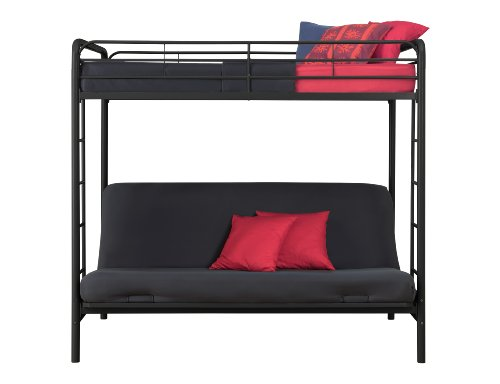 amazoncom dorel home products twin over full futon bunk bed black kitchen dining - Bunk Bed Frame