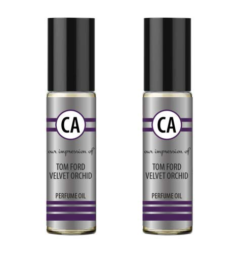 CA Perfume and Essential Oils Double Set Impression of Tom Ford Velvet Orchid for Women (0.3 fl oz) x 2 Travel Size Roll on Valentine
