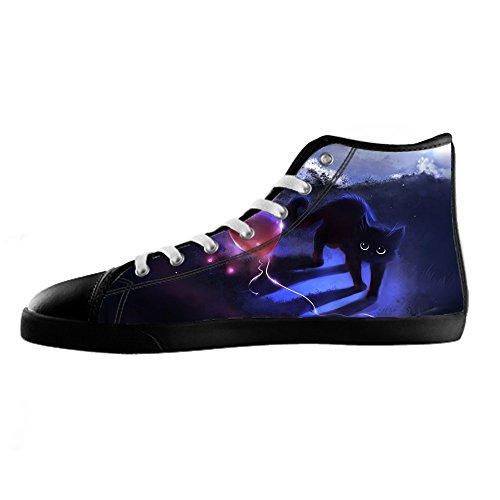 Men's I Sopra Alto Tela In Di Lacci Shoes Da Delle Gatti Custom Le Ginnastica Pittura Canvas Scarpe w8Pkn0O