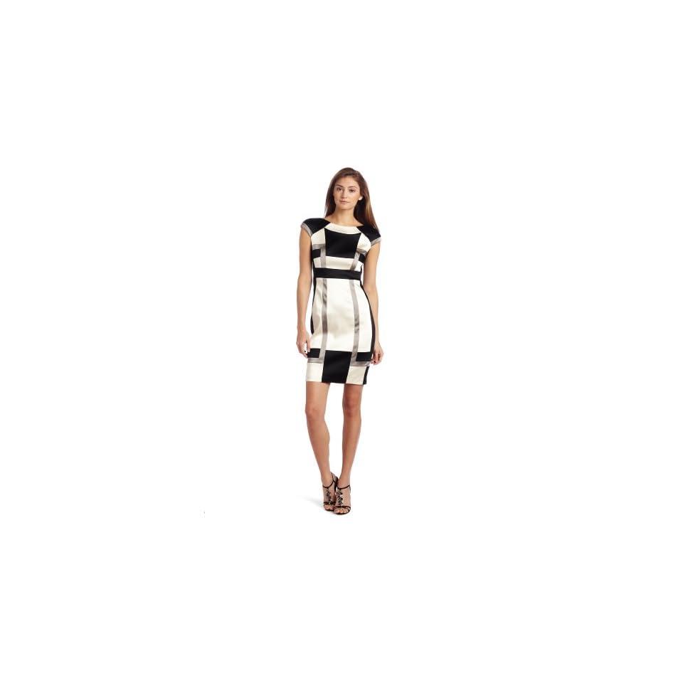 Jax Womens Satin Colorblock Dress