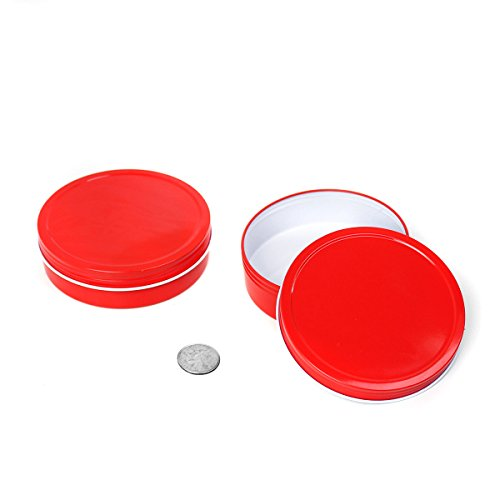 24 Piece Mimi Pack 8 oz Round Shallow Screw Top Tin Cans Lid Steel Containers For Spices, Candy Favors, Balms, Gels, Candles, Gifts, Storage (Red)