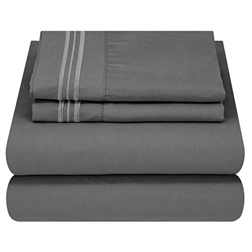 Mezzati Luxury Bed Sheet Set - Soft and Comfortable 1800 Prestige Collection - Brushed Microfiber Bedding (Gray, Queen Size)