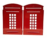 Arsdoll Vintage Fashion British Style London Telephone Booth Heavy Duty Nonskid Iron Metal Bookend Decorative Book Holder Organizer For Office School Library Home Study Decoration Gift (Red)
