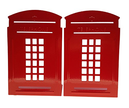 Arsdoll Vintage Fashion British Style London Telephone Booth Heavy Duty Nonskid Iron Metal Bookend Decorative Book Holder Organizer For Office School Library Home Study Decoration Gift (Red) by Arsdoll