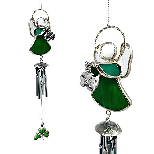 - BANBERRY DESIGNS Irish Wind Chimes - Green Stained Glass Angel Holding a Shamrock Charm - St. Patrick's Day Garden Chime