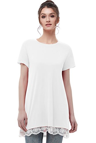 t Sleeves Tunic Tops Casual Lace T-Shirt Blouse White L ()