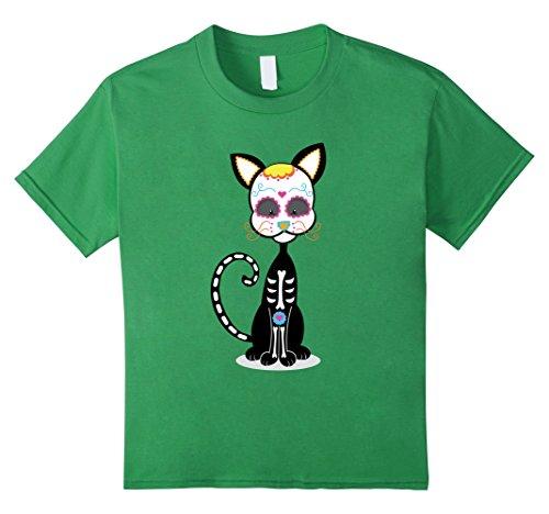 Catrina Costume For Kids (Kids Black Cat Sugar Skull costume Mexico Dia de los Muertos 6 Grass)
