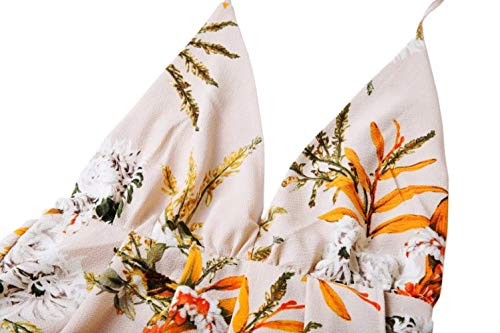 Fente Impression Profond Halter Blanc Spaghetti Floral Divisé Sangle Afibi Robe Femmes Maxi Plage neck V txaAwn0Yvq
