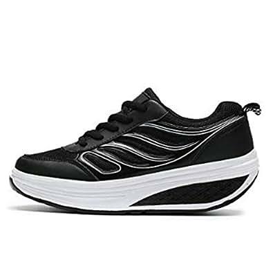 SAGUARO Platform Toning Rocker Shoes Womens Tennis Sneakers Wedges Thick Sole for Walking Black Size: 4