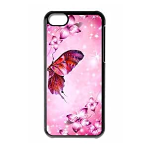 Iphone 5C 2D Custom Hard Back Durable Phone Case with Flower with Butterfly Image