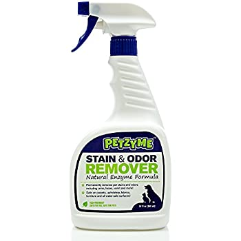 Petzyme Pet Stain Remover & Odor Eliminator, Enzyme Cleaner for Dogs, Cats Urine, Feces and More, 32 Fl Oz Spray