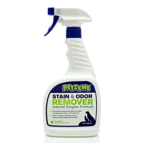 Petzyme Pet Stain Remover & Odor Eliminator, Enzyme Cleaner for Dogs, Cats Urine, Feces and More, 32 Fl Oz Spray (Hoover Patio)