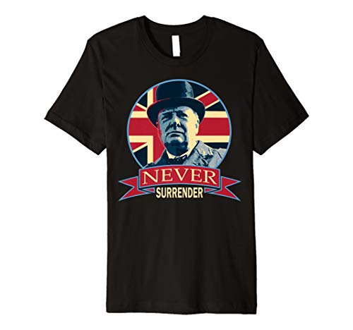 (Winston Churchill Never Surrender Union Jack Propaganda Premium T-Shirt )