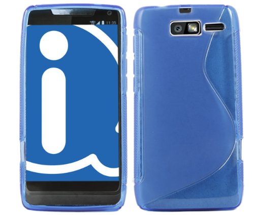 Motorola XT907 DROID RAZR M Blue Wave Pattern Flexible & Durable Soft TPU Gel Skin Case Protective Jelly Cover For Motorola XT907 DROID RAZR M