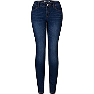 2LUV Women's Solid Stretchy 5 Pocket Skinny Jeans Denim, Denim Medium1 , 1