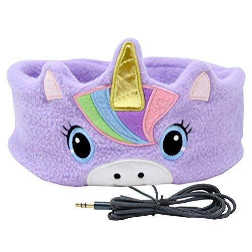 (CozyPhones Kids Headphones Volume Limited with Ultra-Thin Speakers Soft Fleece Headband - Perfect Children's Earphones for Home and Travel - Purple Rainbow Unicorn)