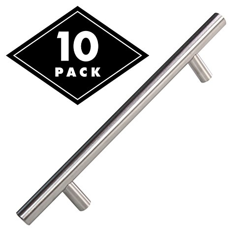 Cabinet Door Pulls Brushed Nickel - Long Stainless Steel Kitchen Pulls with Satin Finish, T Bar Dresser Drawer Handles, 10 pack, 8