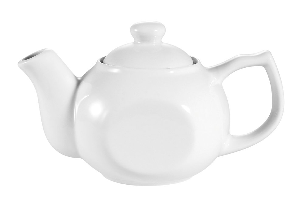CAC China TPW-1 15-Ounce Porcelain Style Teapot with Raised Lid, 7-1/2 by 4-1/4 by 4-1/4-Inch, Super White, Box of 36