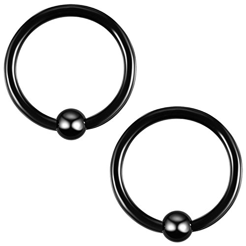 Body Jewelry Pierce Eyebrow Ring - BodyJ4You 2PC Ball Closure Ring Black Steel 16G BCR 10mm Tragus Rook Daith Nose Septum Eyebrow Jewelry