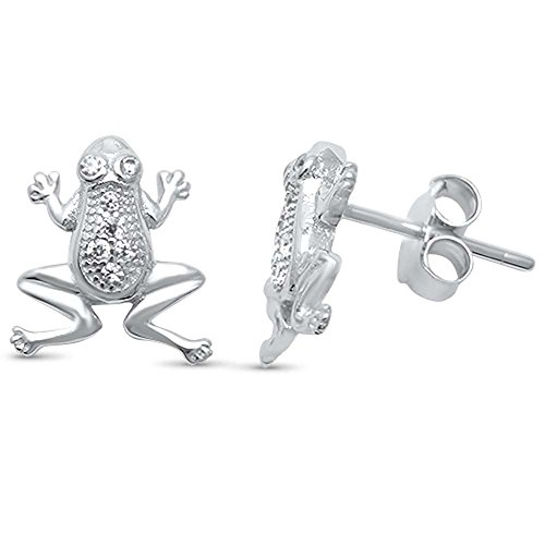Sterling Silver Cute! Micro Pave Cubic Zirconia Frog Stud ()
