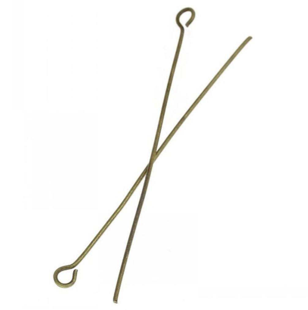 200pcs Top Quality 30mm Eye Pins (Wire~21 GA) Antique Bronze Plated for Jewelry Making CF153-30mm Adabele