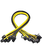 Hacbop 16AWG 6 Pin PCI-E to 8 Pin (6 Pin + 2 Pin) PCI-E (Male to Male) GPU Power Cable,Splitter PCI Express Graphics Card Connector PC Power Cable (10pcs/50cm)
